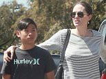 Picture Shows: Pax Jolie-Pitt, Angelina Jolie, Shiloh Jolie-Pitt  July 10, 2015.. .. ***MINIMUM MAG PRINT USAGE FEE £250 PER IMAGE***.. .. Happy couple Brad Pitt and Angelina Jolie take two of their six kids, Shiloh and Pax, shopping at a Toys R Us in Glendale, California... .. The power duo, who have been dating since 2005, will celebrate their first wedding anniversary together next month... .. ***MINIMUM MAG PRINT USAGE FEE £250 PER IMAGE***.. .. Exclusive All Rounder.. UK RIGHTS ONLY.. FameFlynet UK © 2015.. Tel : +44 (0)20 3551 5049.. Email : info@fameflynet.uk.com