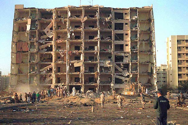 In a handout photo provided by the U.S. Navy, the aftermath of a truck bombing that killed 19 Americans at the Khobar Towers barracks in Dhahran, Saudi Arabia, June 17, 1996. Saudi Arabia has arrested a suspect in the bombing, a Saudi-owned newspaper reported on Aug. 26, 2015, citing unnamed officials. (Photo: U.S. Navy via The New York Times)