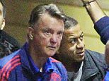 27.12.15.....Man United arrive at The Lowry Hotel on Sunday evening before the Chelsea game on Monday..... Louis van Gaal and Ryan Giggs.