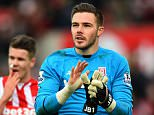 STOKE ON TRENT, ENGLAND - DECEMBER 26:  Jack Butland of Stoke City celebrates at the end of the Barclays Premier League match between Stoke City and Manchester United at Britannia Stadium on December 26, 2015 in Stoke on Trent, England.  (Photo by Laurence Griffiths/Getty Images)