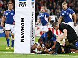 Julian Savea of New Zealand scores  his team sixth try during the IRB Rugby World Cup 2015 Pool C match between New Zealand and Namibia played at The Stadium, Queen Elizabeth Olympic Park, London