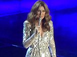 EXCLUSIVE. Coleman-Rayner.  Las Vegas, NV, USA. September 12, 2015. Celine Dion pays tribute to her terminally ill husband/manager RenÈ AngÈlil during a concert at Caesars Palace Las Vegas Hotel and Casino. Ms Dion flashed unseen family photographs up on the big screen including one of husband Rene waving which received applause from Dion's fans. Pictured also are aerial photographs of the couples' Las Vegas home which is situated in a prestigious private golf course community. In a recent interview the French-Canadian songstress stated that her husband who is battling cancer 'hopes to die in her arms'.  CREDIT LINE MUST READ: Anthony Taafe/Coleman-Rayner Tel US (001) 310-4744343- office  Tel US (001) 323 5457584 - cell www.coleman-rayner.com