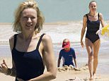 1 JANUARY 2016 SYDNEY AUSTRALIA\nEXCLUSIVE PICTURES\nNaomi Watts pictured at Bondi Beach on New Years Day with her husband Liev Schreiber and sons Alexander and Samuel. Naomi and the family braved the crowds on the busiest day of the year for Bondi Beach and spent a few hours cooling off in the water. Liev tried his hand at surfing while Naomi stayed close the shore with the boys.