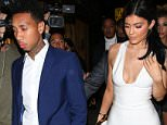 UK CLIENTS MUST CREDIT: AKM-GSI ONLY..Kylie Jenner is back with her boyfriend, Tyga, after a short break-up during his birthday.  They were seen arriving together at The Nice Guy for Justin Bieber's party where Kylie leaned on Tyga's shoulder to get out of their limo bus.....Pictured: Kylie Jenner and Tyga..Ref: SPL1183196  221115  ..Picture by: AKM-GSI / Splash News....