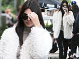 Please contact X17 before any use of these exclusive photos - x17@x17agency.com   EXCLUSIVE - Kendall Jenner is in a shy mood as she goes to a farmers market and gets coffee with a friend -- already back home after a romantic New Year's with Harry Styles in St. Barts. Jenner wears a furry white coat with a white manicure and tries to hide her makeup-free face. Sunday, January 3, 2015. X17online.com