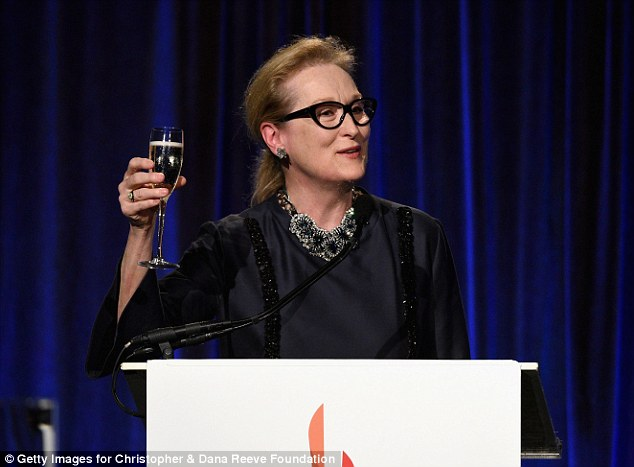Raised a glass: The three-time Oscar winner toasted the memory of the late couple and saluted the work of the foundation at the gala held at Cipriani Wall Street