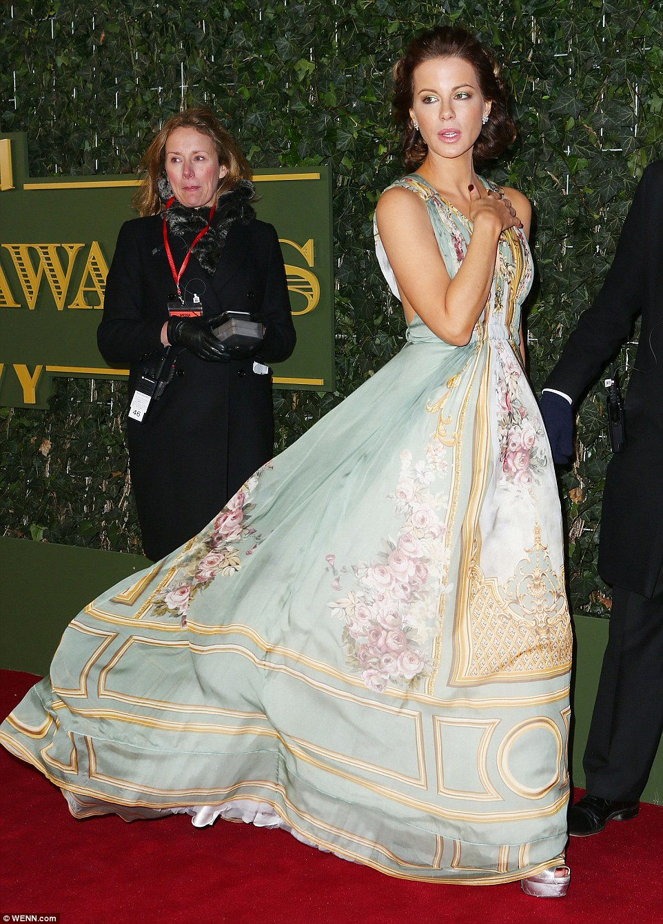 Kate's stunning gown is from the Alberta Ferretti Limited Edition Fall 2015 Couture collection and the baroque floral print looks like it has been lifted straight from the walls of a palace