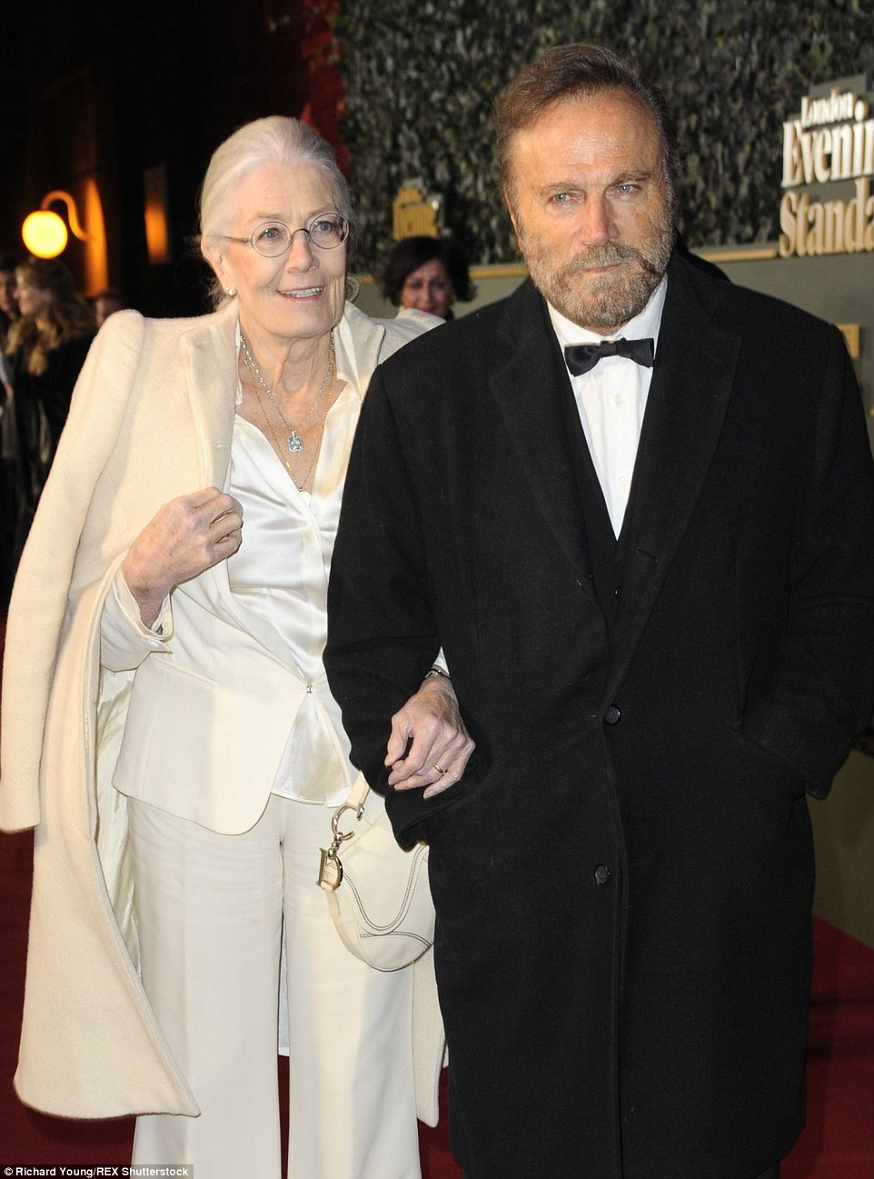 Veteran actress Vanessa Redgrave arrived at the awards ceremony with husband Franco Nero in a chic cream silk trouser suit and matching coat. The Natasha Richardson Best actress award, which went to Nicole Kidman, was named after her late daughter who died in a tragic skiing accident