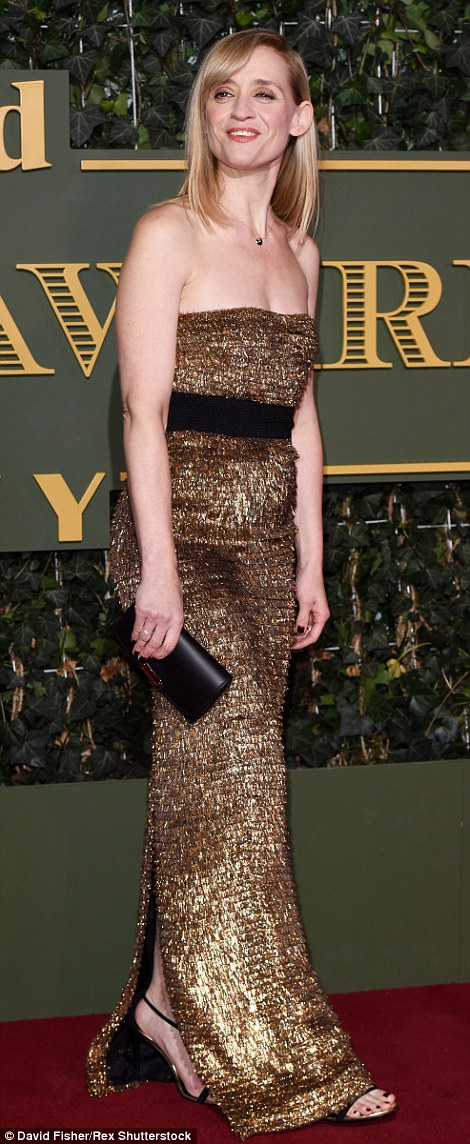 Anne-Marie Duff opted for a shimmering gold strapless number to support husband James McAvoy who was honoured for his role in The Ruling Class at the Trafalgar Studios