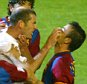 19 April 2003 La Liga - Real Madrid v Barcelona : Zinedine Zidane gets involved in a clash with Luis Enrique of Barca.