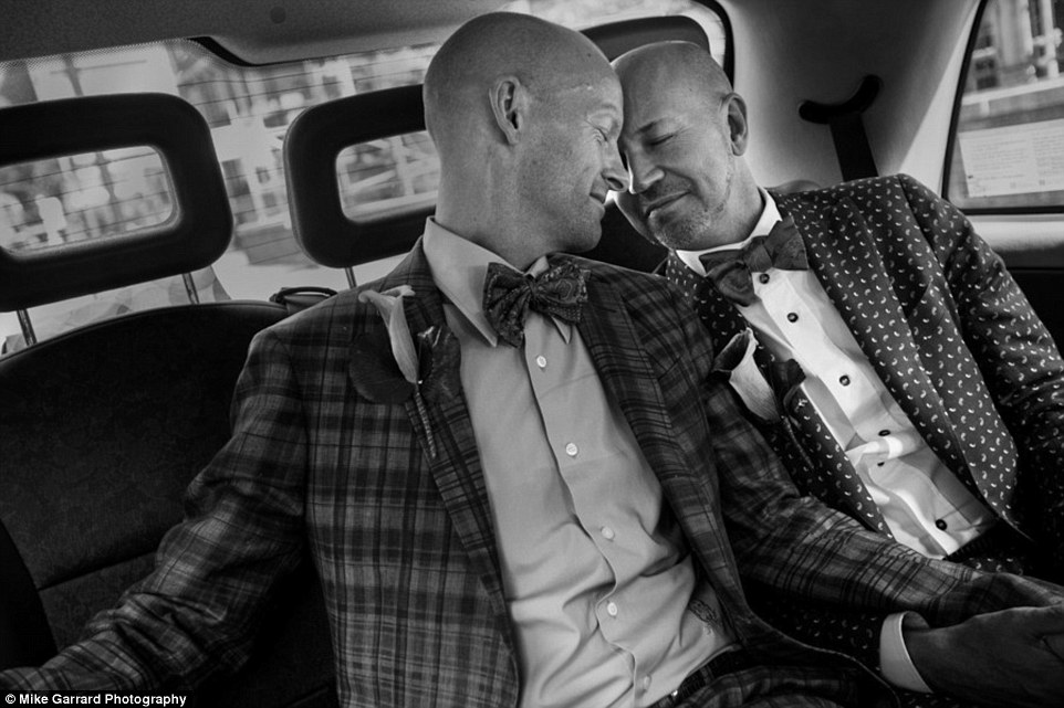 This photo captures the moment just before Howard and Roly arrived for their ceremony in London, having traveled 3,500 miles from New York as same-sex marriage was yet to be recognised in the US