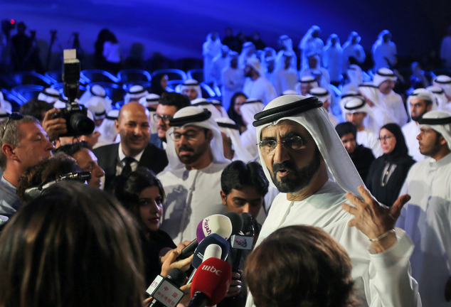 Dubai ruler Sheikh Mohammed bin Rashid Al Maktoum talks to journalists after announcing a UAE  Mars mission named 'Hope'