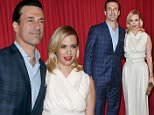 Jon Hamm, left, and January Jones arrive at the AFI Awards at the Four Seasons Hotel on Friday, Jan. 8, 2016, in Los Angeles. (Photo by Jordan Strauss/Invision/AP)