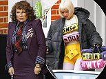 """Picture Shows: Jennifer Saunders  January 4th, 2016:    * Min Web / Online Fee £350 For Set *    Cast members seen filming scenes for 'Absolutely Fabulous: The Movie' in London, England.    Jennifer Saunders' character Edina """"Eddy"""" Monsoon can be seen wearing a badge which says """"Reality TV makes Me Sad"""". She is also wearing a mismatched Vivienne Westwood outfit.    Joanna Lumley's character Patsy Stone is filmed being 'popped' leaving an adress holding a bundle of papers. On the front page of one it contains a plot spoiler about Kate Moss falling off a balcony.    Jane Horrocks's character Bubbles can be seen wearing a typically bizarre outfit consisting of text Emojis.    * Min Web / Online Fee £350 For Set *    Exclusive All Rounder  WORLDWIDE RIGHTS  Pictures by : FameFlynet UK © 2016  Tel : +44 (0)20 3551 5049  Email : info@fameflynet.uk.com"""