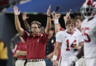 Alabama and coach Nick Saban are on the verge of making history. (AP)
