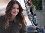 146518, EXCLUSIVE: Katharine McPhee looks stunning in a natural disaster as she films some earthquake scenes with co-stars Robert Patrick and Jadyn Wong for her hit show Scorpion in LA. The American Idol star climbed a large ladder in heals and helped with a downed power pole. Los Angeles, California - Thursday January 07, 2016. Photograph: KVS, © PacificCoastNews. Los Angeles Office: +1 310.822.0419 sales@pacificcoastnews.com FEE MUST BE AGREED PRIOR TO USAGE