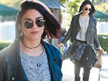 January 7, 2015: Vanessa Hudgen sporting a leather moto jacket picks up a green smoothie drink and lunch before going to the studio, Los Angeles, CA.\nMandatory Credit: INFphoto.com Ref.: infusla-300