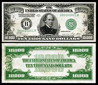 $10,000 Federal Reserve Note, Series 1928, Fr.2230b, depicting Salmon P. Chase.