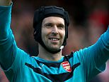 Arsenal goalkeeper Petr Cech celebrates at full time after the Barclays Premier League match between Arsenal and Stoke City played at The Emirates Stadium, London