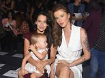 NEW YORK, NY - SEPTEMBER 15:  (L-R) Hilaria Baldwin, Carmen Gabriela Baldwin and model Ireland Baldwin attend Badgley Mischka Spring 2016 during New York Fashion Week: The Shows  at The Arc, Skylight at Moynihan Station on September 15, 2015 in New York City.  (Photo by Michael Loccisano/Getty Images for NYFW: The Shows)