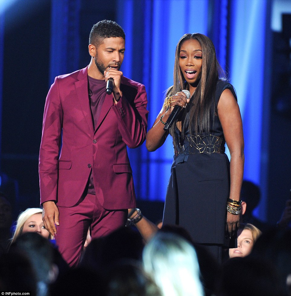 Belting it out: Empire's Estelle and Jussie Smollett duetted onstage