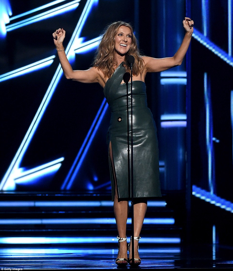 Elegant: Celine Dion took on presenting duties at the awards show