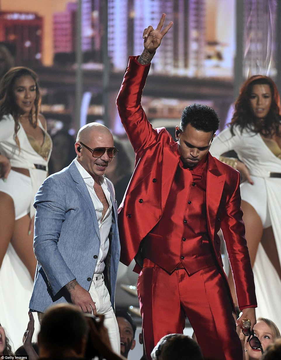 Party boys: Chris Brown and Pitbull got the crowd going