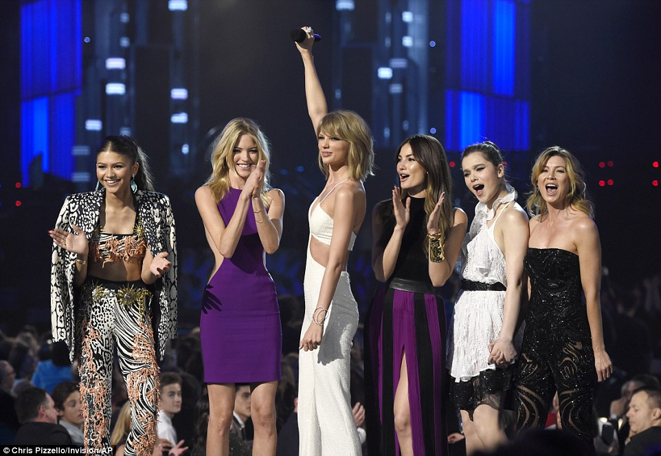 Staying on top! The singer debuted her star-packed music video Bad Blood to open the show, pictured with her co-stars Zendaya, Hailee Steinfeld, Lily Aldridge, Ellen Pompeo and Martha Hunt