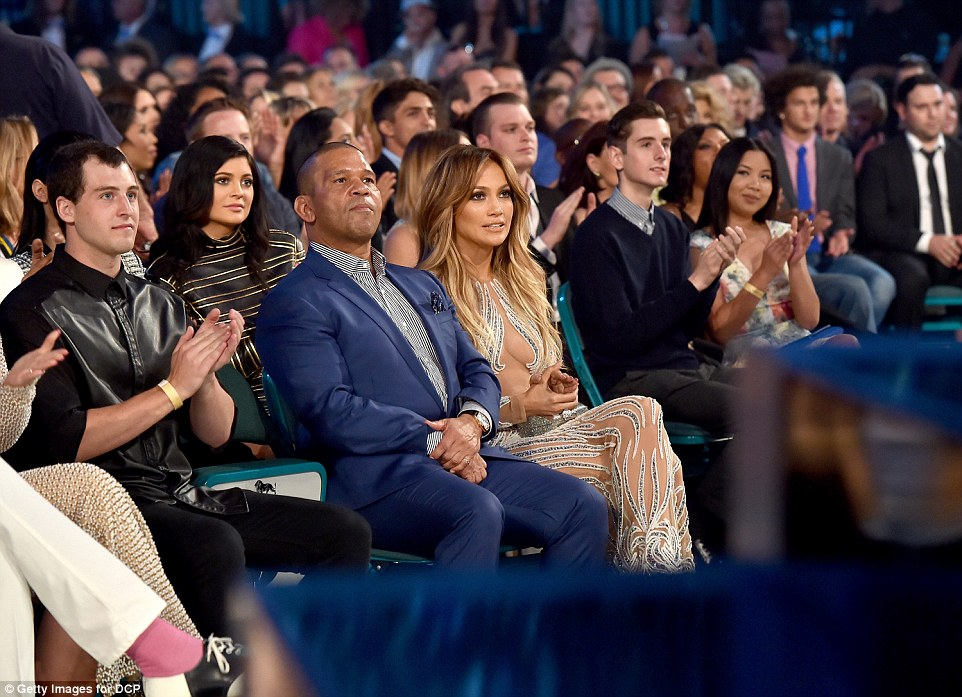 Sticking out: J-Lo and Kylie were rapt in attention as they kept their eyes on the stage