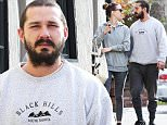 """*EXCLUSIVE* **SHOT ON 1/11/16** Studio City, CA - Shia LaBeouf and his girlfriend Mia Goth look cozy as they get lunch together in Studio City. Both are matching in gray sweatshirts and cotton pants. Mia is seen with a """"Namaste"""" tote. \nAKM-GSI         January 12, 2016\nTo License These Photos, Please Contact :\nSteve Ginsburg\n(310) 505-8447\n(323) 423-9397\nsteve@akmgsi.com\nsales@akmgsi.com\nor\nMaria Buda\n(917) 242-1505\nmbuda@akmgsi.com\nginsburgspalyinc@gmail.com"""