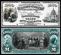 $1,000 National Bank Note proof, Series 1875, Fr.465, vignette depicting (obv) Scott's entrance into Mexico City (rev) Washington surrendering his commission.