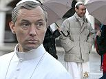Mandatory Credit: Photo by REX/Shutterstock (5540025b)  Jude Law  'The Young Pope' film set, Venice, Italy - 12 Jan 2016