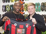 Benik Afoba, AFC Bournemouth's new signing with manager Eddie Howe.