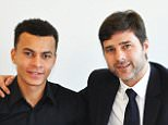ENFIELD,UNITED KINGDOM - JANUARY 12: Dele Alli of  Tottenham Hotspur FC poses with Manager Mauricio Pochettino after signing a new contract at the Tottenham Hotspur Training Ground on January 12, 2016 in Enfield, England. (Photo by Tottenham Hotspur FC via Getty Images)