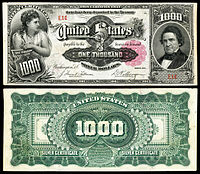 $1000 Silver Certificate, Series 1891, Fr.346e, depicting William Marcy