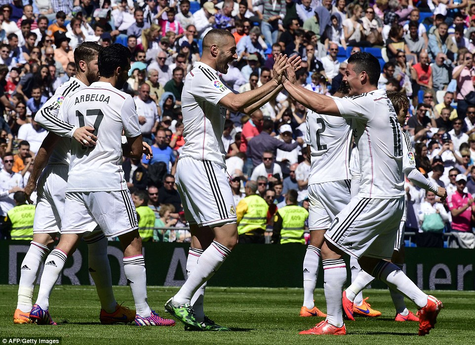 French striker Karim Benzema also notched a double as Real Madrid kept the pressure on Barcelona at the top of La Liga