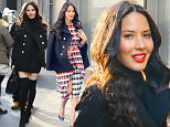 "NEW YORK, NY - JANUARY 13:  Actrees Olivia Munn is seen walking in ""Midtown"" on January 13, 2016 in New York City.  (Photo by Raymond Hall/GC Images)"
