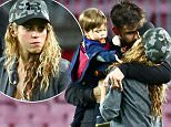 10 January 2016 - Barcelona - Spain *** EXCLUSIVE ALL ROUND PICTURES AVAILABLE FOR UK NEWSPAPERS ONLY *** Yummy Mummy Shakira and her footballer partner Gerard Pique seen enjoying an afternoon with their children as well as other teammates at FC Barcelona field after Barcelona vs Granada match. Pictured Marc Bartra and girlfriend Melissa Jimenez, Gerard Pique and Shakira with Milan Pique Mebarak and Sasha Pique Mebarak and Sergi Busquets with pregnant girlfriend lena Galera. Also in the picture, Gerard Pique's parents. BYLINE MUST READ: XPOSUREPHOTOS.COM *AVAILABLE FOR UK SALE ONLY* **UK CLIENTS MUST CALL PRIOR TO TV OR ONLINE USAGE PLEASE TELEPHONE  +44 208 344 2007