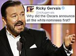 In this image released by NBC, host Ricky Gervais speaks at the 73rd Annual Golden Globe Awards at the Beverly Hilton Hotel in Beverly Hills, Calif., on Sunday, Jan. 10, 2016 -- (Paul Drinkwater/NBC via AP)