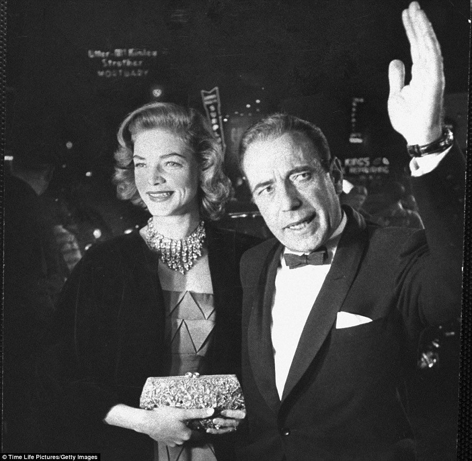 Romantic leads: Humphrey Bogart and wife Lauren Bacall arrived at the 27th Academy Awards. They met on the set of To Have And Have Not in 1944 when Bacall was 19 and Bogart 45
