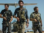 """In this photo provided by Paramount Pictures shows Pablo Schreiber, from left, as Kris """"Tanto"""" Paronto, John Krasinski as Jack Silva, David Denman as Dave """"Boon"""" Benton and Dominic Fumusa as John """"Tig"""" Tiegen, in the film, """"13 Hours: The Secret Soldiers of Benghazi"""" from Paramount Pictures and 3 Arts Entertainment/Bay Films. The movie releases in U.S. theaters Jan. 15, 2016. (Christian Black/Paramount Pictures via AP)"""