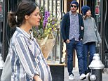 Pregnant Rose Byrne and her hubby Bobby Cannavale head out to Brunch in the ¿Lower East Side¿ before grabbing some flowers for the house. Rose is expecting her first child any day now.