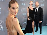 SANTA MONICA, CA - JANUARY 17:  Actress/model Rosie Huntington-Whiteley (L) and actor Jason Statham attend the 21st Annual Critics' Choice Awards at Barker Hangar on January 17, 2016 in Santa Monica, California.  (Photo by Michael Kovac/Getty Images for Moet & Chandon)