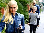 Brentwood, CA - Gwen Stefani and son Zuma spend some quality time together as the two head for breakfast. Zuma was in a good mood as he skipped down the street. His hair is similar to mom Gwen's recent dip dye do. The mother son duo both wore bright sneakers. Gwen wore bright turquoise Pumas while Zuma wore bright orange Nikes. Gwen is passing along her edgy style to her sons.\n  \nAKM-GSI       January 18, 2016\nTo License These Photos, Please Contact :\nSteve Ginsburg\n(310) 505-8447\n(323) 423-9397\nsteve@akmgsi.com\nsales@akmgsi.com\nor\nMaria Buda\n(917) 242-1505\nmbuda@akmgsi.com\nginsburgspalyinc@gmail.com
