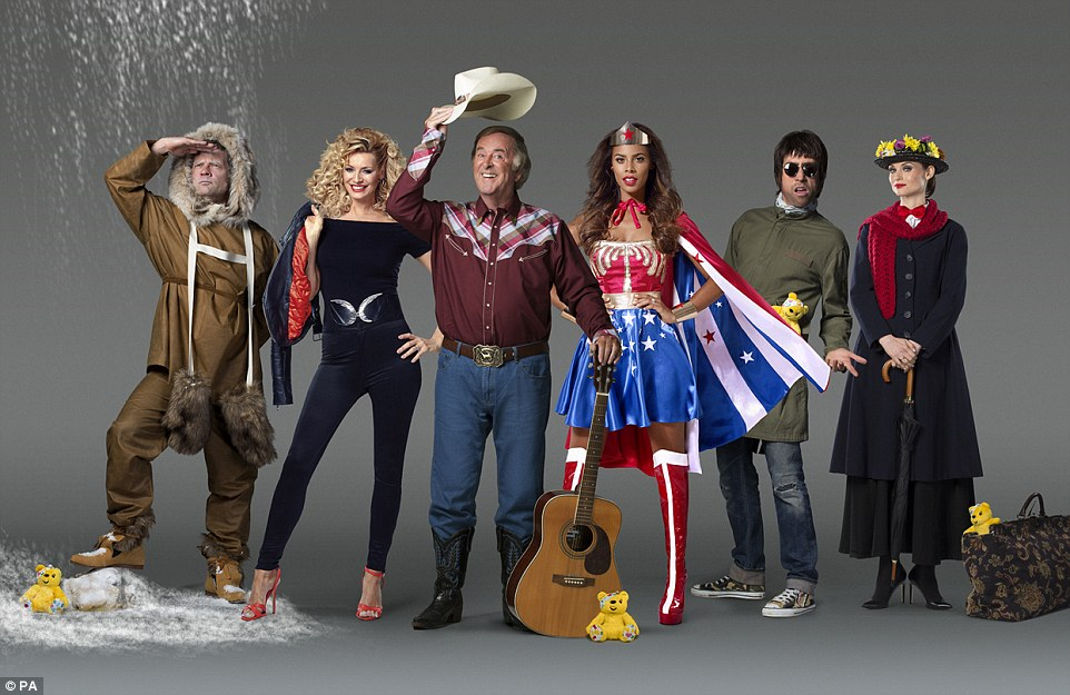Inspiration: (L-R) Dermot O'Leary, Tess Daly, Sir Terry Wogan, Rochelle Humes, Nick Grimshaw and Sophie Ellis-Bextor dressed up as their childhood heroes to launch this year's BBC Children In Need