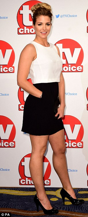 Gym bunny: Gemma Atkinson certainly showcased the fruits of her labour as she flaunted her gym-honed physiquein a black and white dress