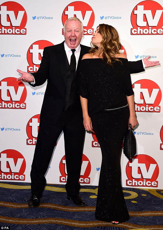 Close pals: Alison, 42, cosied up to co-star Les Dennis ahead of the night's proceedings
