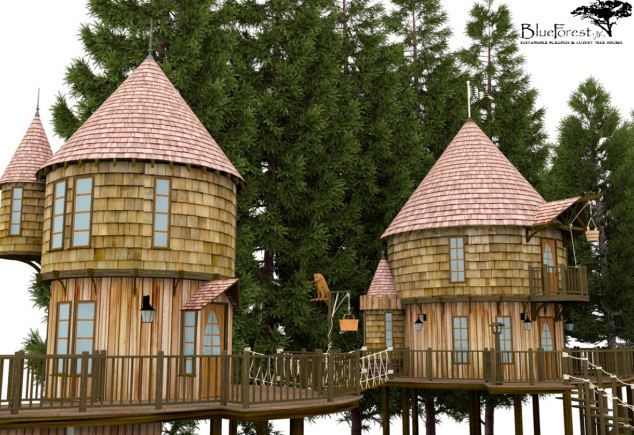 Children's dream: Each wooden tree house is to be built on stilts and boasts balconies, carvings and turrets that wouldn¿t look out of place in a Potter adventure