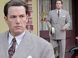"""Actor Ben Affleck wearing 1920's attire for a scene in his upcoming movie """"Live By Night"""" filming in downtown Los Angeles.\nFeaturing: Ben Affleck\nWhere: Los Angeles, California, United States\nWhen: 21 Jan 2016\nCredit: Cousart/JFXimages/WENN.com"""