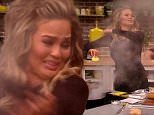"""19 January 2016-NYC-USA  **** STRICTLY NOT AVAILABLE FOR USA ***Pregnant supermodel and tv show host Chrissy Teigen had a frightful kitchen scare during a cooking segment on her tv show FABlife. Dressed in a sheer black dress, Teigen was joined by co-host Joe Zee in the kitchen to cook up some Coconut breaded Chicken. Started off the segment Teigen was happily showing off a block of Beeswax and told the audience: """"Its a really fun thing to be able to prime your pan with."""" She then followed that up by rubbing the Beeswax into the pan and saying: """"So we have a really hot cast iron skillet right now and im using it in the pan in lieu of oil"""" The kitchen area then started to immediately fill with smoke coming from the pan. The smoke was billowing up from the pan so fast and was so thick that the audience could barely see Teigen and Zee. Waving his arms in the air Zee quickly said: """"Turn the smoke alarm off!"""" Teigen, flapping her arms around now too to get the smoke away from her perfectly"""
